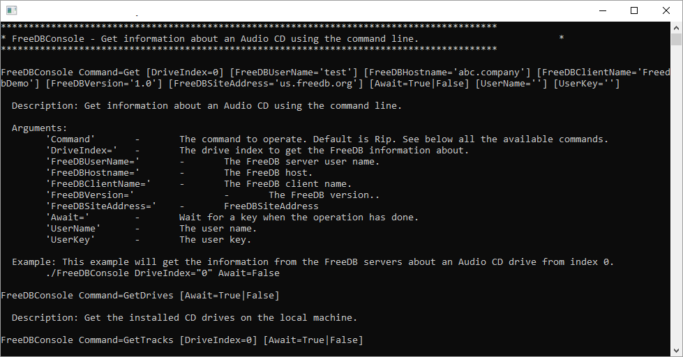 Get information about an Audio CD using the FreeDB using the command line.