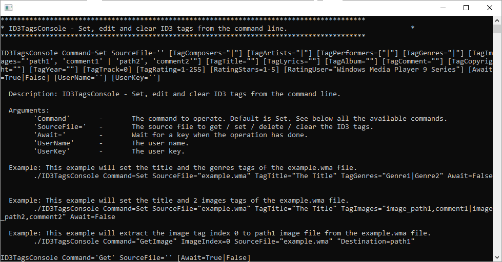Set the ID3 tags of many types of audio / video files using the command line in Windows Shell.